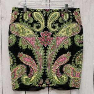 INC Paisley Lime Pink Skirt Midi Size 12